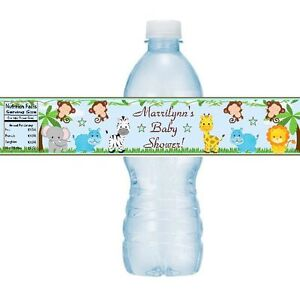 Details About 12 Jungle Animals Baby Shower Birthday Party Water Bottle Stickers Monkey Safari