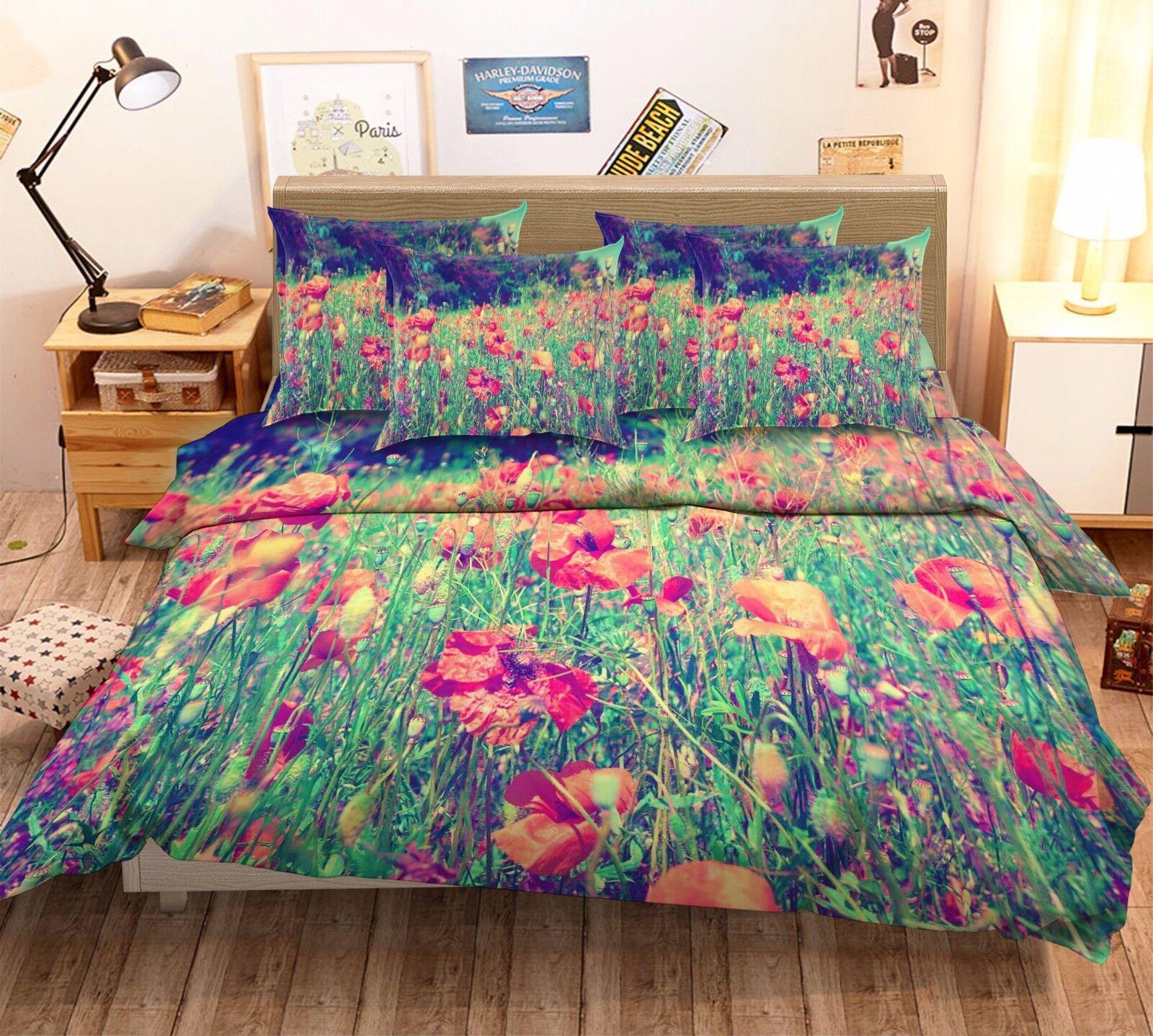 3D Flowers Fields 7 Bed Pillowcases Quilt Duvet Cover Set Single Queen AU Lemon