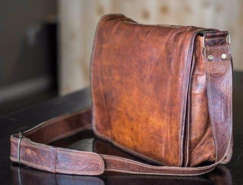 """14/"""" Men/'s Vintage Brown Leather Full Flap Messenger Laptop Satchel Shoulder Bag"""