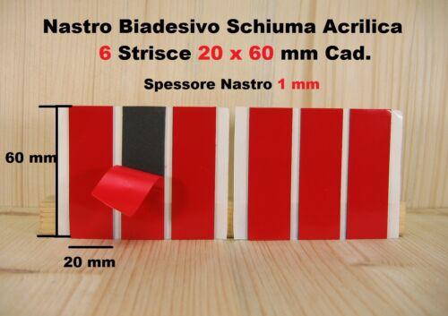 2x Biadesivo VHB Schiuma Acrilica interno ed esterno 3 Strisce 20x60 mm 2 Pezzi