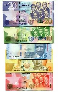 GHANA-SET-5-pcs-2014-2017-1-2-5-10-20-CEDIS-UNC-NEW