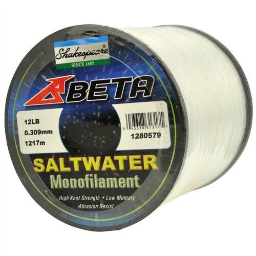 Shakespeare Beta Saltwater Monofilament//mono ligne de pêche en vrac Bobine Toutes Tailles
