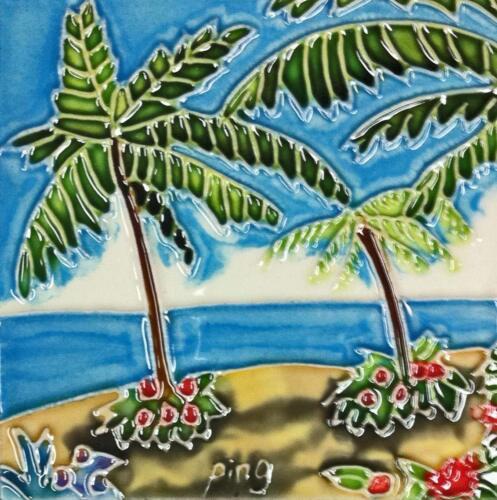 "Palm Trees Art Tile 4/""x4/"" Decorative Ceramic New Tropical Beach SD-056"