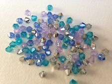 100 Austrian Crystal Glass Bicone Beads - Blues/Lilac/Silver Mix -4mm