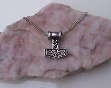 Thor's 3D Hammer Amulet, Mjölnir, Norse Viking Mythology, Chain Necklace