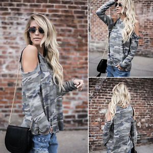 Womens-Camo-Blouse-Tunic-Loose-Tops-Ladies-Cold-Shoulder-Loose-Casual-T-Shirt