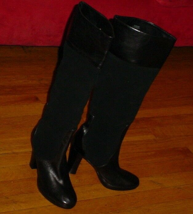 STEVEN By Steve Madden BLACK Suede With Smooth Leather-trim Knee High Boots 8