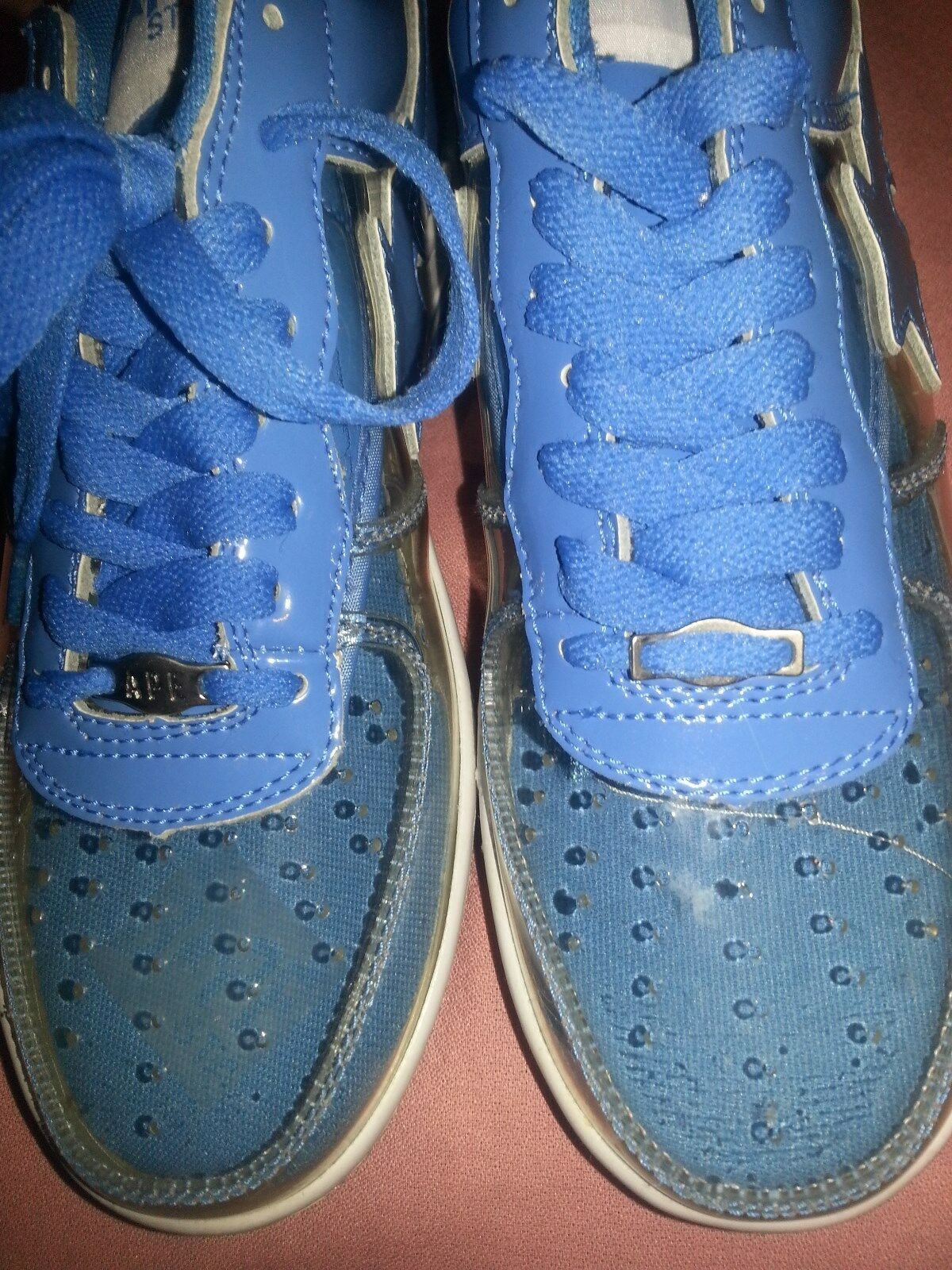 Bathing Ape mens shoe size 6.5 Sky bluee and Clear