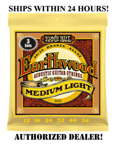 3 SETS ERNIE BALL 2003 EARTHWOOD MED LIGHT ACOUSTIC GUITAR STRINGS 12-54 (3PACK)