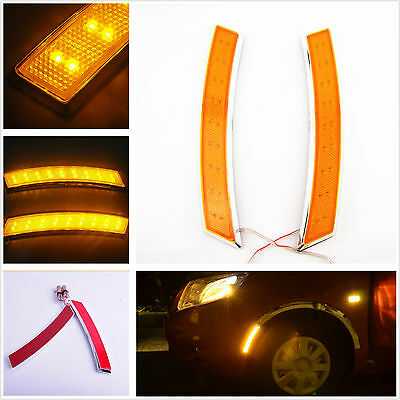 2 x Yellow 18LED Car SUV Wheel Eyebrow Side Marker Turn Signal Indication Light