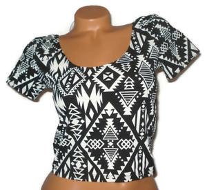 Victoria Secret PINK Crop Top Black White Aztec Sleeve Shirt