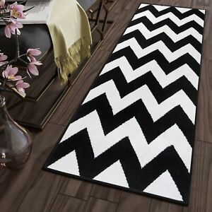 Details About Contemporary Zig Zag Rug Hallway Runner Tapiso 120 Cm Width Black White Mat