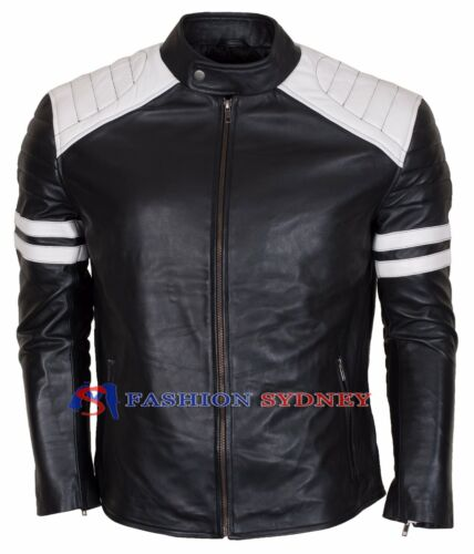 New Fight Club Mayhem Retro Black And White Real Leather jacket White Stripes.