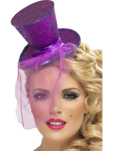 Mini Top Hat w// Veil on Headband Costume Green Purple Hot Pink Red Black