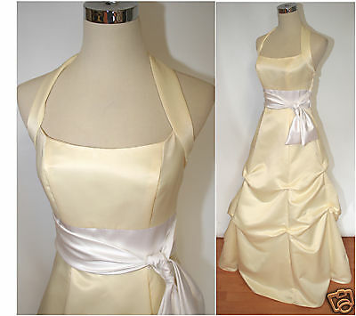 NWT NIKI  150 150 150 Yellow White Evening Prom Formal Gown 2 1a0b81