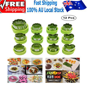 12Pc Stainless Steel Flower Shape Food Vegetable Fruit Cookie Cutter Mold Tool