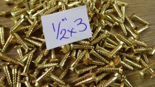 """bag of 50  1//2/"""" x 3 solid brass countersunk slotted head wood screws traditional"""