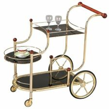 BOWERY HILL Serving Cart in Clear Glass and Rose Gold