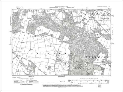 11SW repro Old map of Aylmerton Felbrigg Norfolk in 1907