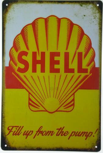 "Shell Motor Oil Can Car Fuel Gas Fill Pump Garage Retro Metal Tin Sign 8x12/"" NEW"