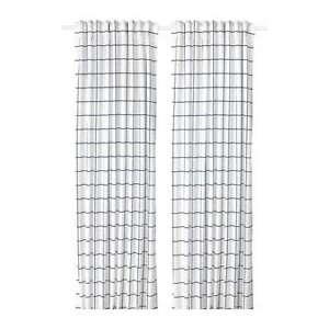 * Nouveau * Rosalill Rideaux, 1 Paire Blanc/bleu 145 X 250 Cm * Marque Ikea *-afficher Le Titre D'origine Excellente Qualité