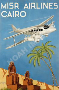 1934 MISR Airlines Cairo Vintage Style Travel Poster 20x30