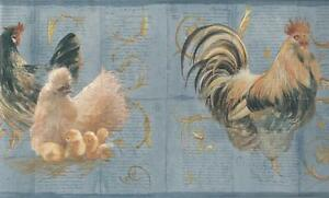 Wallpaper-Border-Rooster-Chicken-Baby-Chicks-on-Light-Blue-with-Gold-Scroll