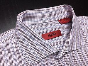 HUGO-BOSS-Mens-15-32-33-Brown-Blue-White-Plaid-Long-Sleeve-Spread-Collar-Shirt