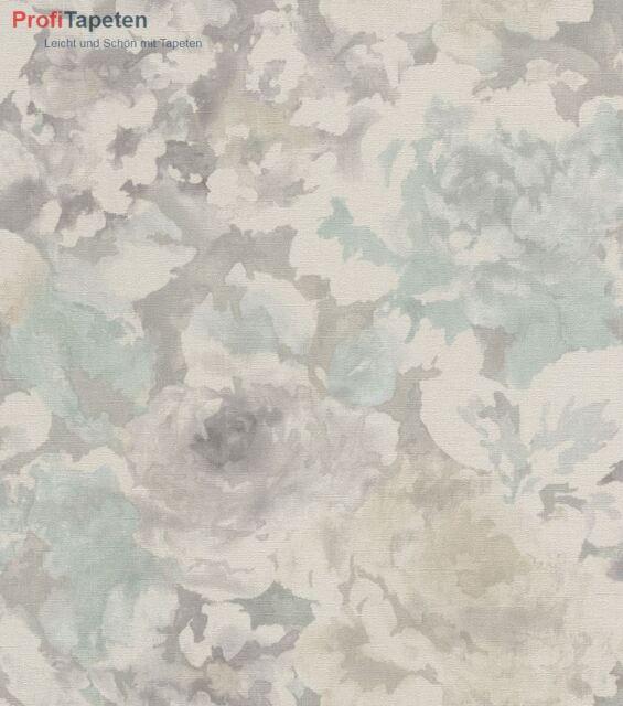 Florentine Blumen Stoff Tapete Grau Hellblau Rasch 455632 Ebay