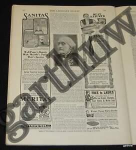 Details about SUSAN B ANTHONY 1906 OBITUARY 1906 1ST SUFFRAGETTE DEATH  PHOTO FEATURE
