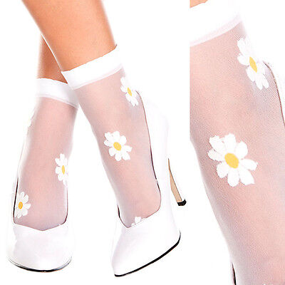 Sheer Net Ankle High Sock w/ Daisys Floral Hippie Flower Power Costume Cosplay