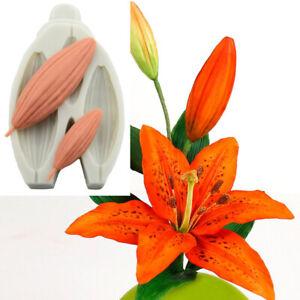 Lily Flower Bud Silicone Cake Mold Fondant Plant Leaf Chocolate Baking DIY Mould