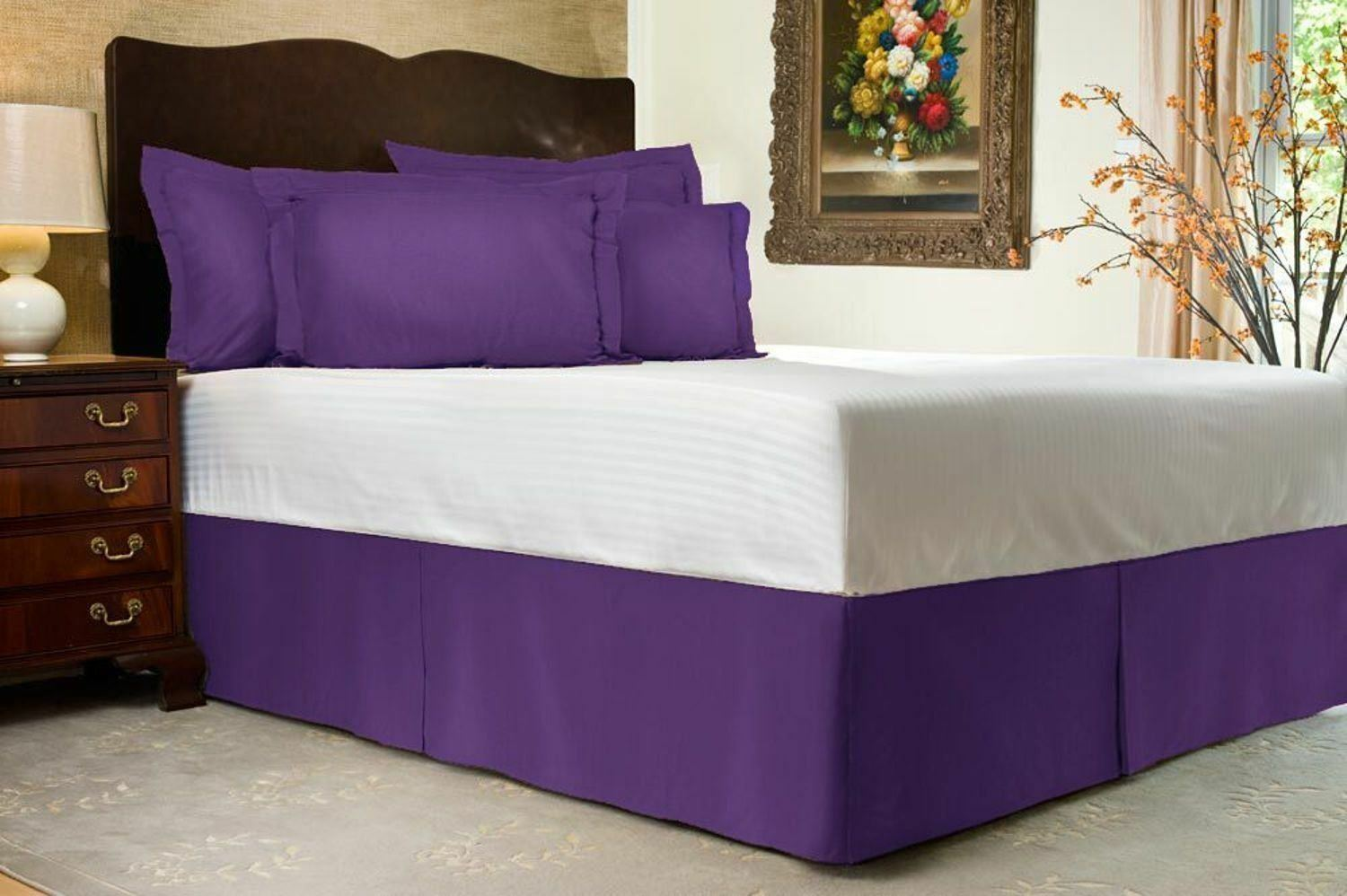1000TC Purple Solid Bed Skirt Select Drop Length All US Size 100% Egy. Cotton