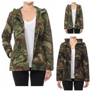 e674ad9949ce0 Women's Utility Anorak Military Camo Drawstring Hooded Jacket (S-L ...