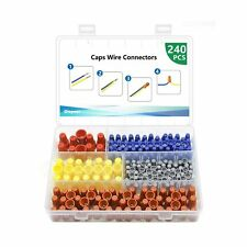 240 Pieces Electrical Wire Connectors Screw Terminals Nuts Caps Assortment Kit