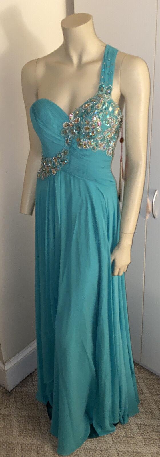 May Queen Couture USA One Shoulder Chiffon Dress, Mint, Size 4, MAQ-MQ1061