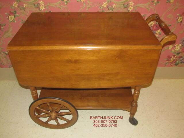 Ethan Allen Heirloom Nutmeg Maple Drop Leaf Tea Cart Serving Wagon 10 6085