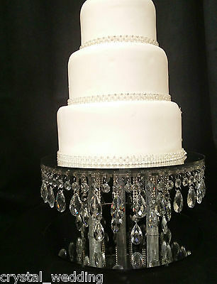 Rain drop crystal cake stand for wedding cakes in Clear, white or gold crystal