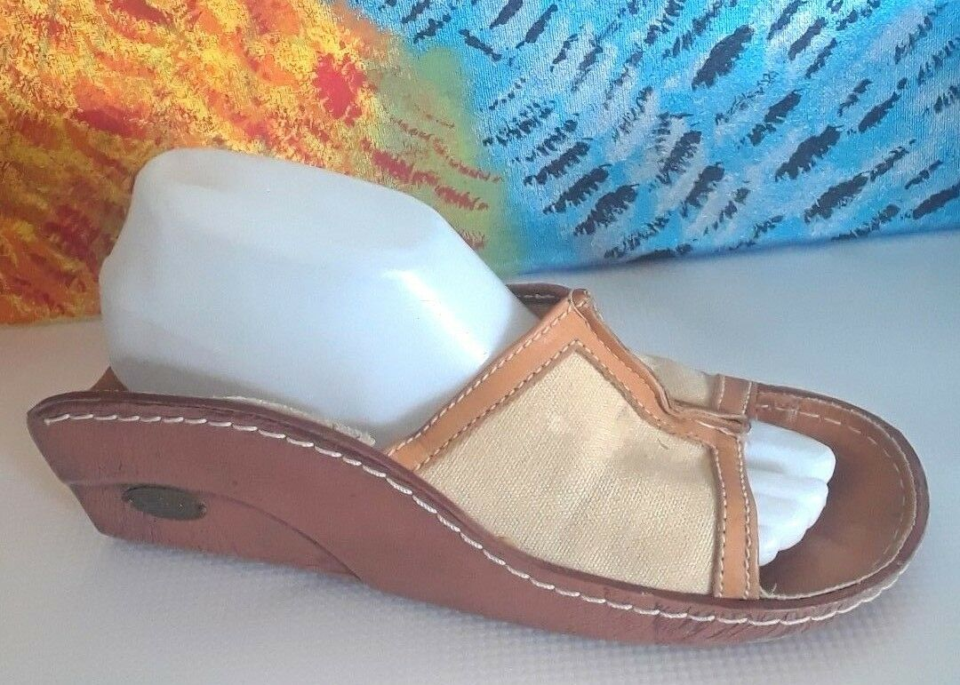 Vintage Dr Scholls Madera puntera abierta sandalia talla 8