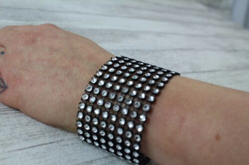 Diamante Diamante Brillante Brazalete ajustable hecho a mano Plata Oro Rosa Negro