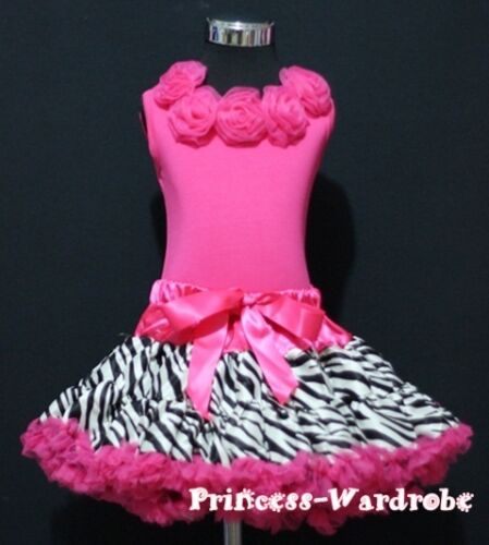 Hot Pink Zebra Pettiskirt Hot Pink Top with Rose 1-8Y