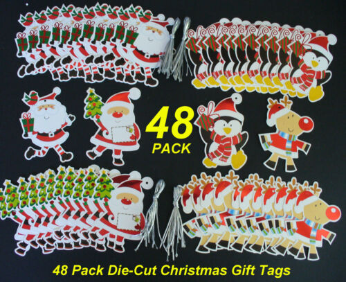 48 Pack DieCut Christmas Gift Tags Cute Characters!