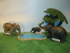 SCHLEICH-ASIAN-ELEPHANT-14144-CALF-14343-amp-NWHD-FEMALE-92023-SET-OF-3-NEW