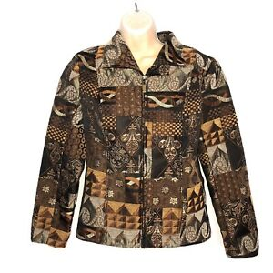 Molly and Maxx Womens Jacket Size Small  Tapestry Zip Front Long Sleeve Blazer