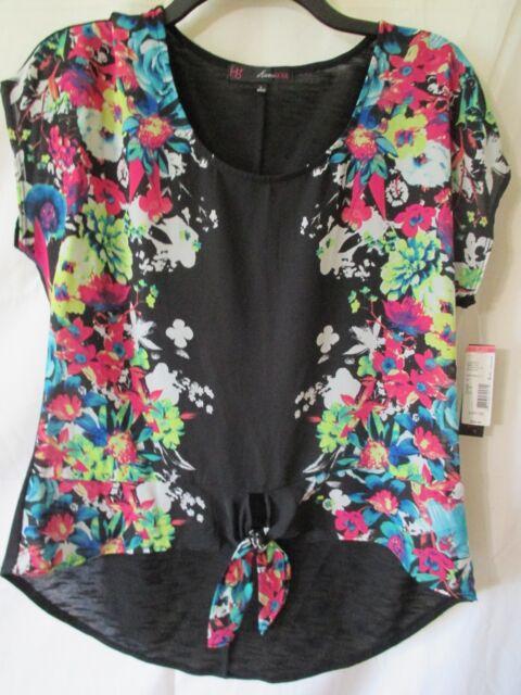9239acdbfad6ec NEW Jrs Heart Soul Tie Front Black Floral Chiffon Hi Lo Top $38 Sz L ...