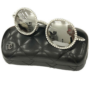 c23d69d36 Image is loading CHANEL-Logos-Pearl-Round-Sunglasses-Silver-Eye-Wear-