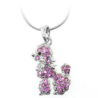 "Silver and Pink Color Poodle Charm Pendant with Pink Crystals and 16"" Chain"
