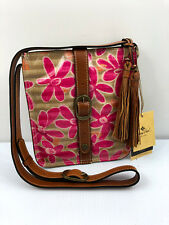 Patricia Nash Venezia Crossbody Pink Floral Striped Daisy Purse Handbag