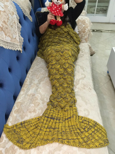 Royaume-Uni Queue De Sirène SOFT BLANKET Handmade Crocheted Tricot Cocon Canapé Tapis Enfants Adultes