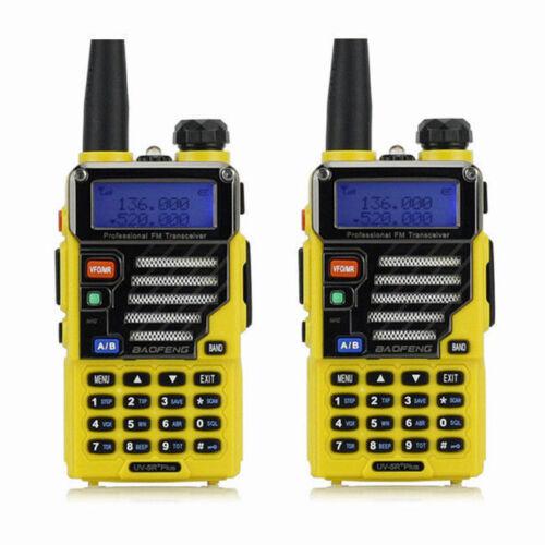 2x Baofeng UV-5R Plus Qualette Yellow 2m//70cm Band VHF UHF FM Ham Two-way Radio